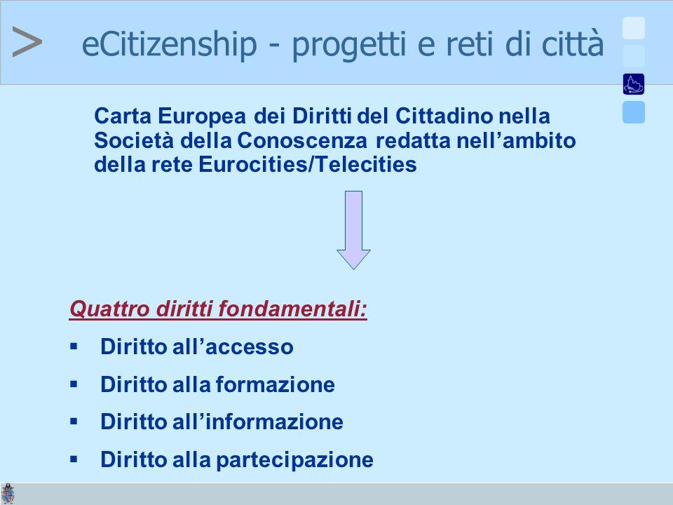 > Carta Europea dei Diritti del Cittadino nella Società della Conoscenza redatta nellambito della rete Eurocities/Telecities Quattro diritti fondamentali: Diritto allaccesso Diritto alla formazione Diritto allinformazione Diritto alla partecipazione eCitizenship - progetti e reti di città