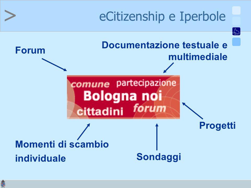 > Forum Documentazione testuale e multimediale Momenti di scambio individuale Sondaggi Progetti eCitizenship e Iperbole