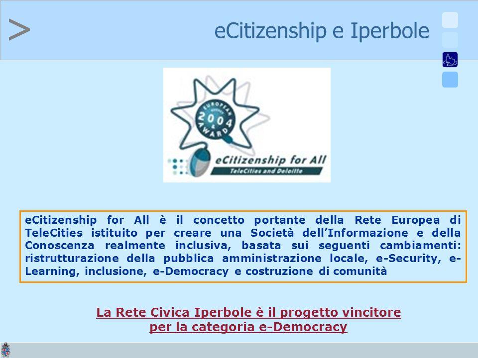 > eCitizenship e Iperbole eCitizenship for All è il concetto portante della Rete Europea di TeleCities istituito per creare una Società dellInformazione e della Conoscenza realmente inclusiva, basata sui seguenti cambiamenti: ristrutturazione della pubblica amministrazione locale, e-Security, e- Learning, inclusione, e-Democracy e costruzione di comunità La Rete Civica Iperbole è il progetto vincitore per la categoria e-Democracy