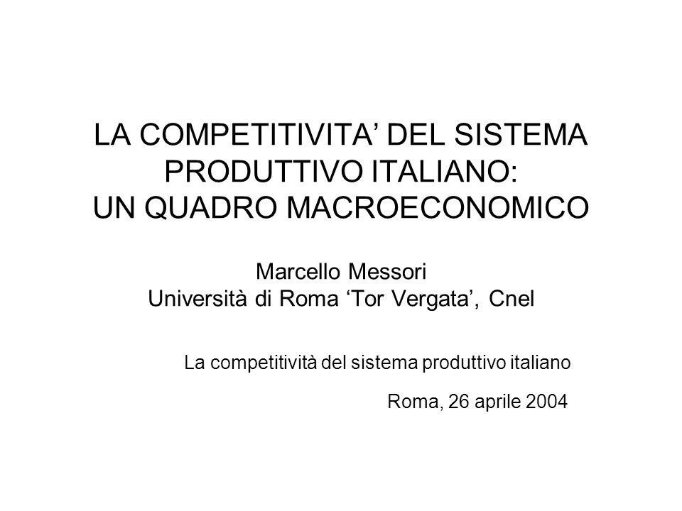 LA COMPETITIVITA DEL SISTEMA PRODUTTIVO ITALIANO: UN QUADRO MACROECONOMICO Marcello Messori Università di Roma Tor Vergata, Cnel La competitività del sistema produttivo italiano Roma, 26 aprile 2004
