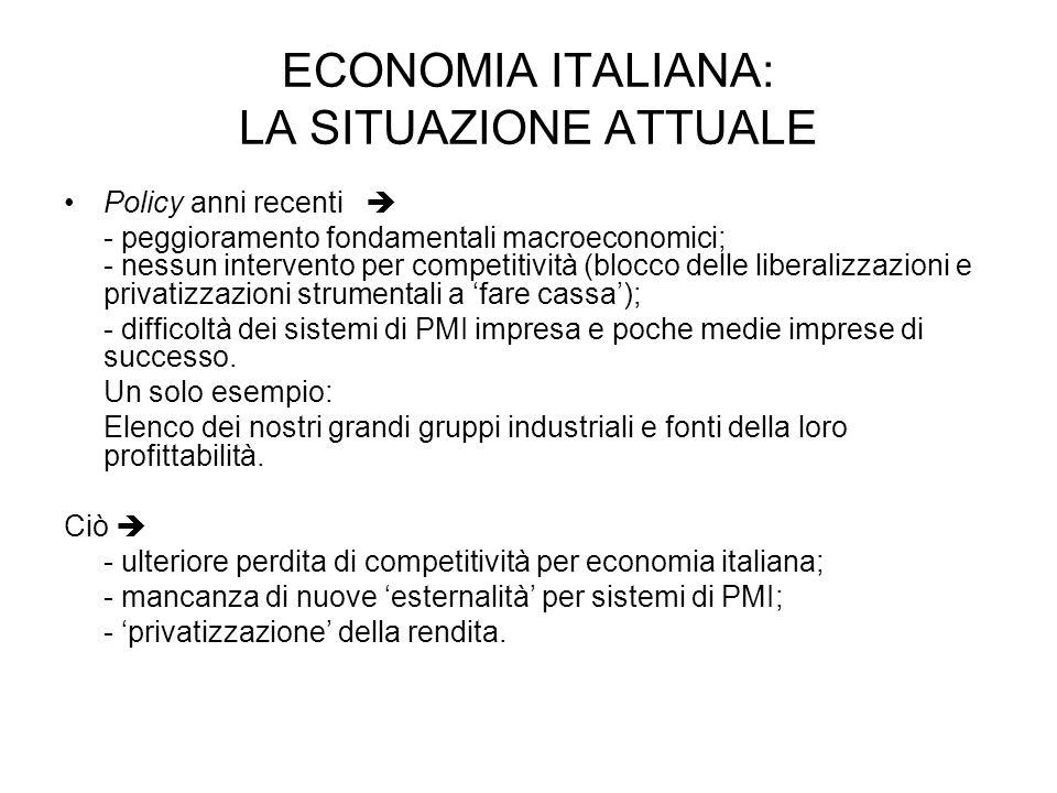 ECONOMIA ITALIANA: LA SITUAZIONE ATTUALE Policy anni recenti - peggioramento fondamentali macroeconomici; - nessun intervento per competitività (blocco delle liberalizzazioni e privatizzazioni strumentali a fare cassa); - difficoltà dei sistemi di PMI impresa e poche medie imprese di successo.