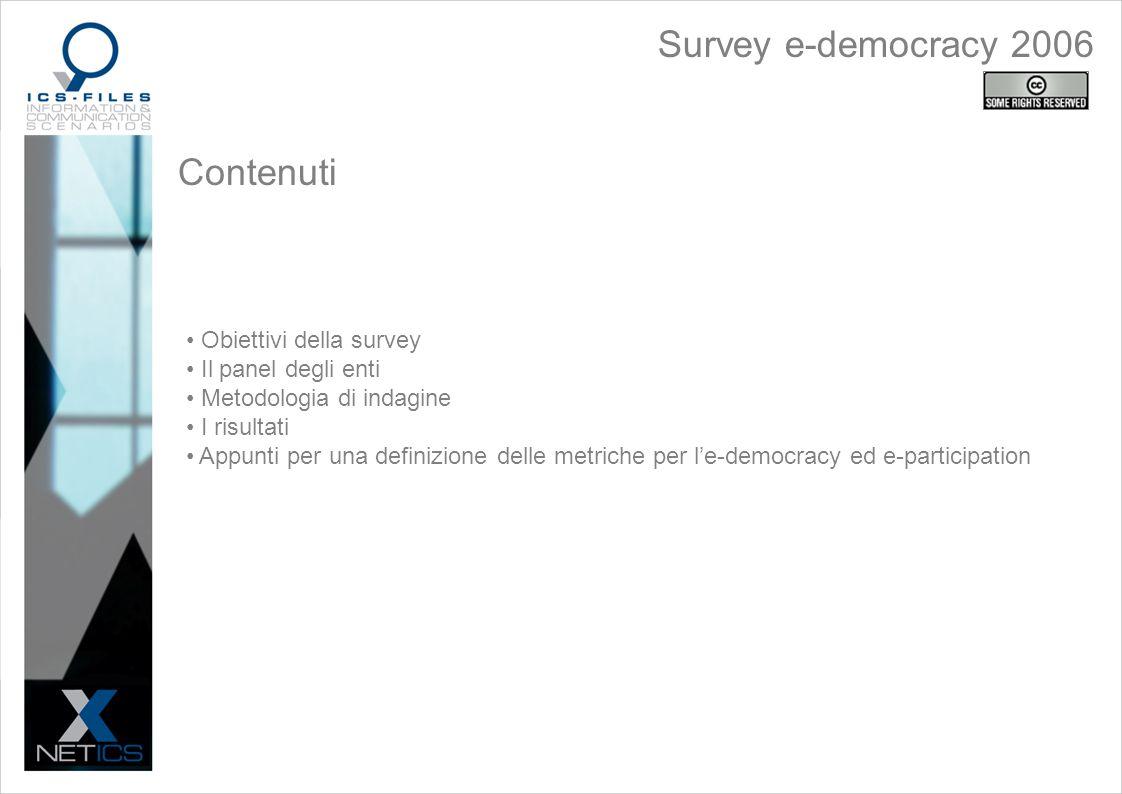 Contenuti Obiettivi della survey Il panel degli enti Metodologia di indagine I risultati Appunti per una definizione delle metriche per le-democracy ed e-participation Survey e-democracy 2006