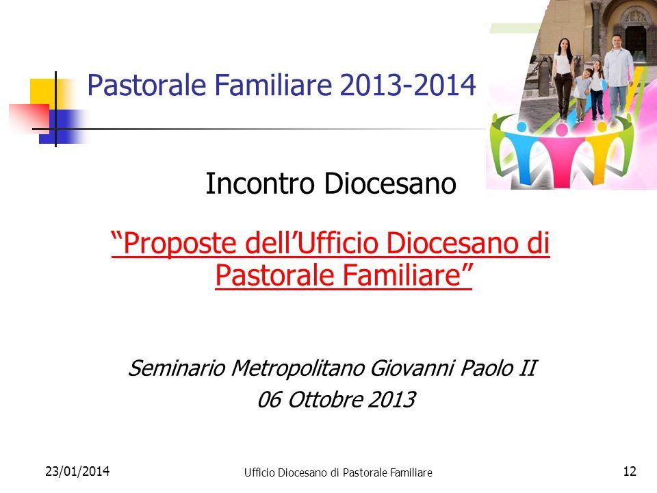 23/01/2014 Ufficio Diocesano di Pastorale Familiare 12 Pastorale Familiare 2013-2014 Incontro Diocesano Proposte dellUfficio Diocesano di Pastorale Fa
