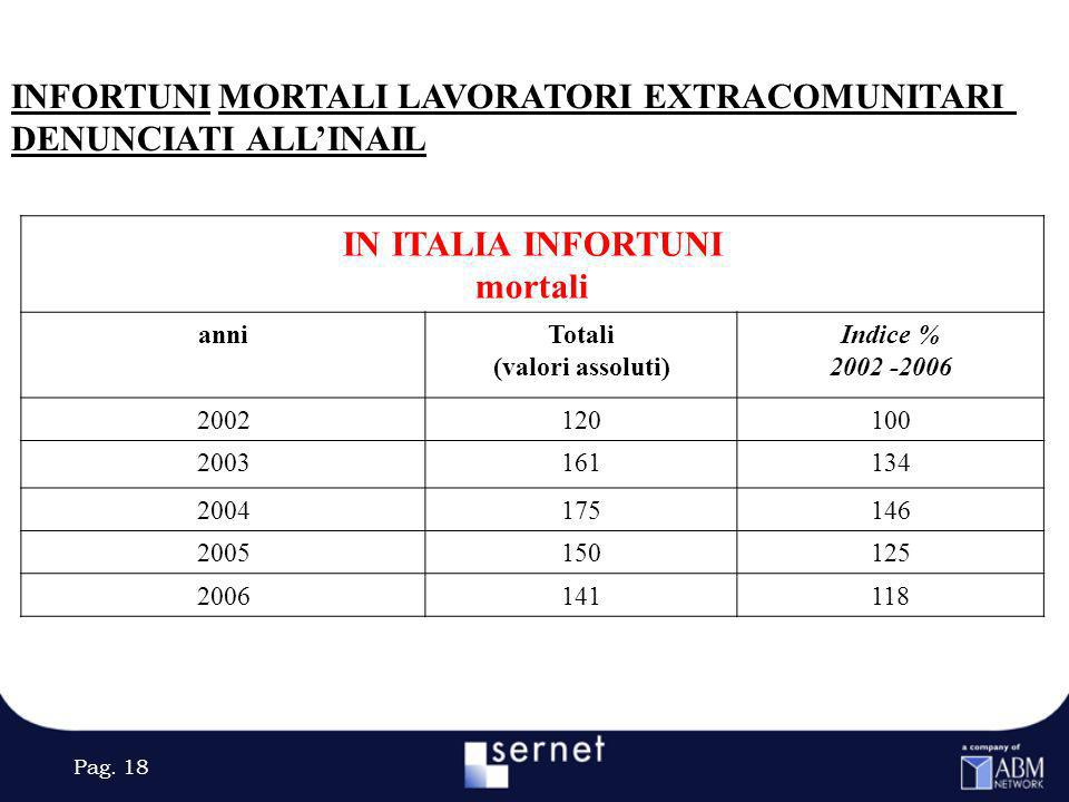 Pag. 18 INFORTUNI MORTALI LAVORATORI EXTRACOMUNITARI DENUNCIATI ALLINAIL IN ITALIA INFORTUNI mortali anniTotali (valori assoluti) Indice % 2002 -2006
