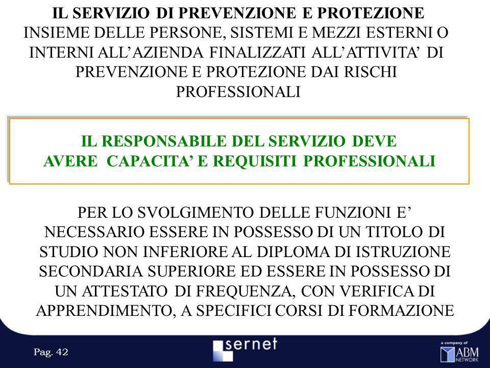 Pag. 42 IL RESPONSABILE DEL SERVIZIO DEVE AVERE CAPACITA E REQUISITI PROFESSIONALI PER LO SVOLGIMENTO DELLE FUNZIONI E NECESSARIO ESSERE IN POSSESSO D