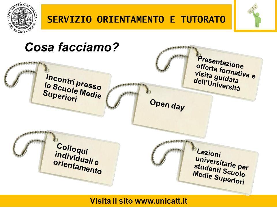 Incontri presso le Scuole Medie Superiori SERVIZIO ORIENTAMENTO E TUTORATO Visita il sito www.unicatt.it Open day Cosa facciamo? Presentazione offerta