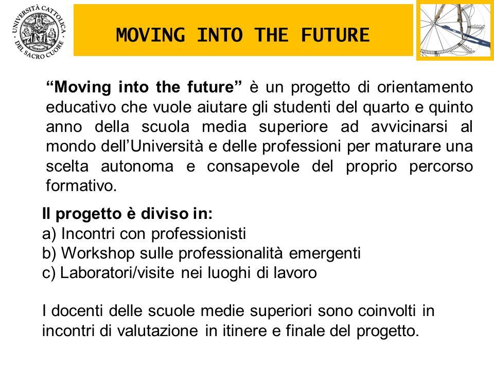 Moving into the future è un progetto di orientamento educativo che vuole aiutare gli studenti del quarto e quinto anno della scuola media superiore ad