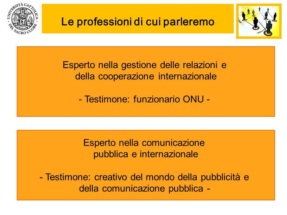 Le professioni di cui parleremo Esperto nella gestione delle relazioni e della cooperazione internazionale - Testimone: funzionario ONU - Esperto nell