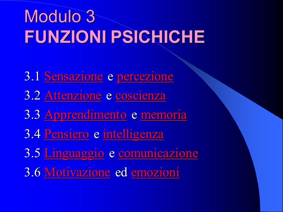 3.1 Sensazione e percezione SensazionepercezioneSensazionepercezione 3.2 Attenzione e coscienza AttenzionecoscienzaAttenzionecoscienza 3.3 Apprendimento e memoria ApprendimentomemoriaApprendimentomemoria 3.4 Pensiero e intelligenza PensierointelligenzaPensierointelligenza 3.5 Linguaggio e comunicazione LinguaggiocomunicazioneLinguaggiocomunicazione 3.6 Motivazione ed emozioni MotivazioneemozioniMotivazioneemozioni Modulo 3 FUNZIONI PSICHICHE