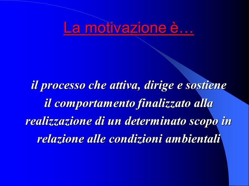 La motivazione è… La motivazione è… il processo che attiva, dirige e sostiene il comportamento finalizzato alla realizzazione di un determinato scopo in relazione alle condizioni ambientali