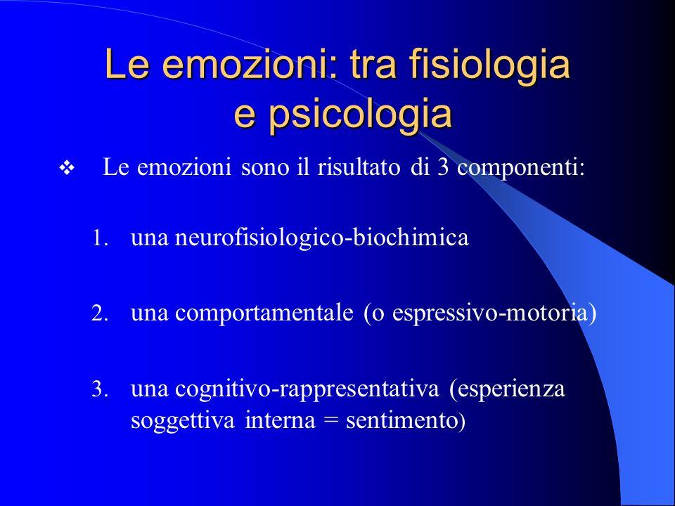 Le emozioni: tra fisiologia e psicologia Le emozioni sono il risultato di 3 componenti: 1.