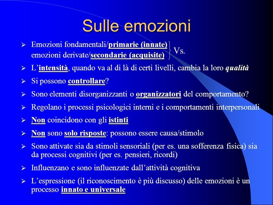 Sulle emozioni primarie (innate) Emozioni fondamentali/primarie (innate) secondarie (acquisite) emozioni derivate/secondarie (acquisite) intensitàqualità Lintensità, quando va al di là di certi livelli, cambia la loro qualità controllare Si possono controllare.