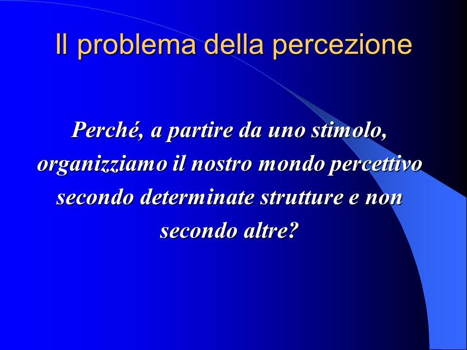 Il problema della percezione Perché, a partire da uno stimolo, organizziamo il nostro mondo percettivo secondo determinate strutture e non secondo altre?