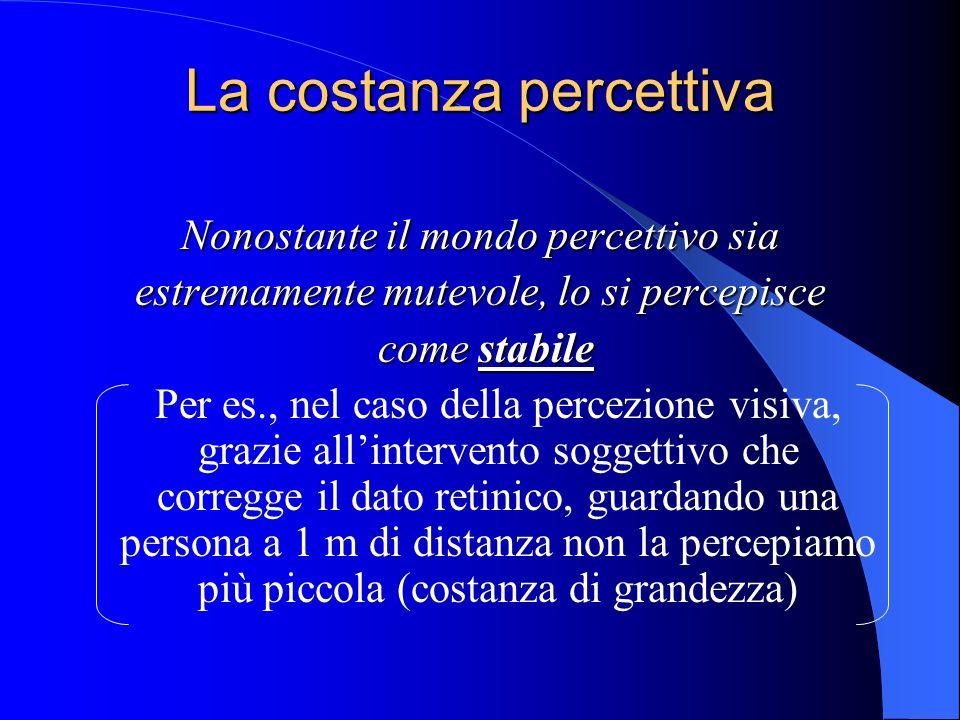 La costanza percettiva Nonostante il mondo percettivo sia estremamente mutevole, lo si percepisce comestabile come stabile Per es., nel caso della percezione visiva, grazie allintervento soggettivo che corregge il dato retinico, guardando una persona a 1 m di distanza non la percepiamo più piccola (costanza di grandezza)