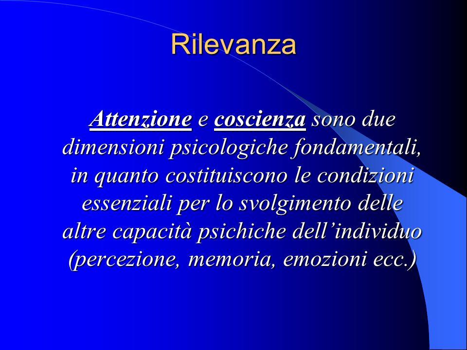 Rilevanza Rilevanza Attenzione e coscienza sono due dimensioni psicologiche fondamentali, in quanto costituiscono le condizioni essenziali per lo svolgimento delle altre capacità psichiche dellindividuo (percezione, memoria, emozioni ecc.)