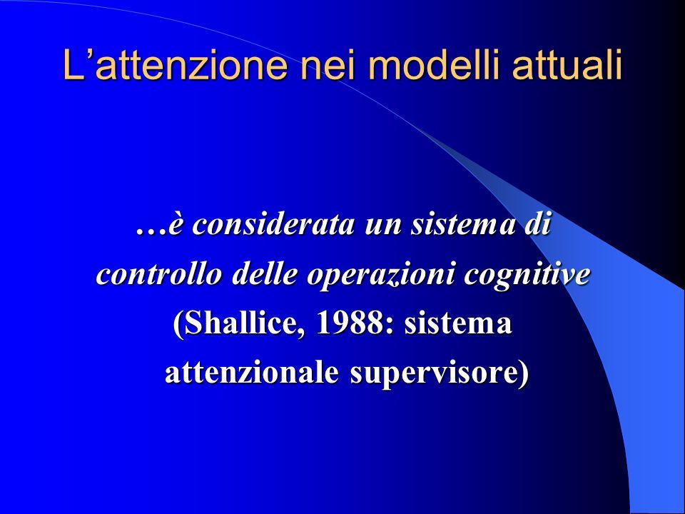 Lattenzione nei modelli attuali …è considerata un sistema di controllo delle operazioni cognitive (Shallice, 1988: sistema attenzionale supervisore) attenzionale supervisore)