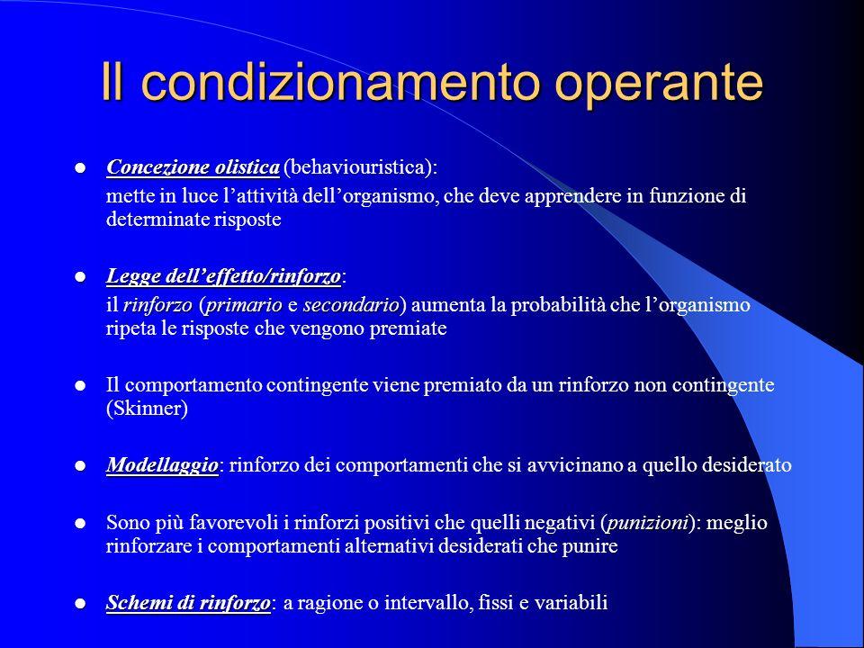 Il condizionamento operante Concezione olistica Concezione olistica (behaviouristica): mette in luce lattività dellorganismo, che deve apprendere in funzione di determinate risposte Legge delleffetto/rinforzo Legge delleffetto/rinforzo: rinforzo primariosecondario il rinforzo (primario e secondario) aumenta la probabilità che lorganismo ripeta le risposte che vengono premiate Il comportamento contingente viene premiato da un rinforzo non contingente (Skinner) Modellaggio Modellaggio: rinforzo dei comportamenti che si avvicinano a quello desiderato punizioni Sono più favorevoli i rinforzi positivi che quelli negativi (punizioni): meglio rinforzare i comportamenti alternativi desiderati che punire Schemi di rinforzo Schemi di rinforzo: a ragione o intervallo, fissi e variabili