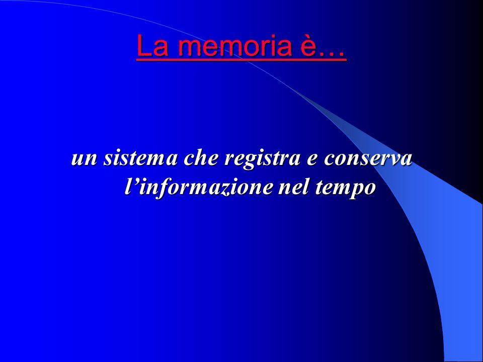La memoria è… La memoria è… La memoria è… La memoria è… un sistema che registra e conserva linformazione nel tempo
