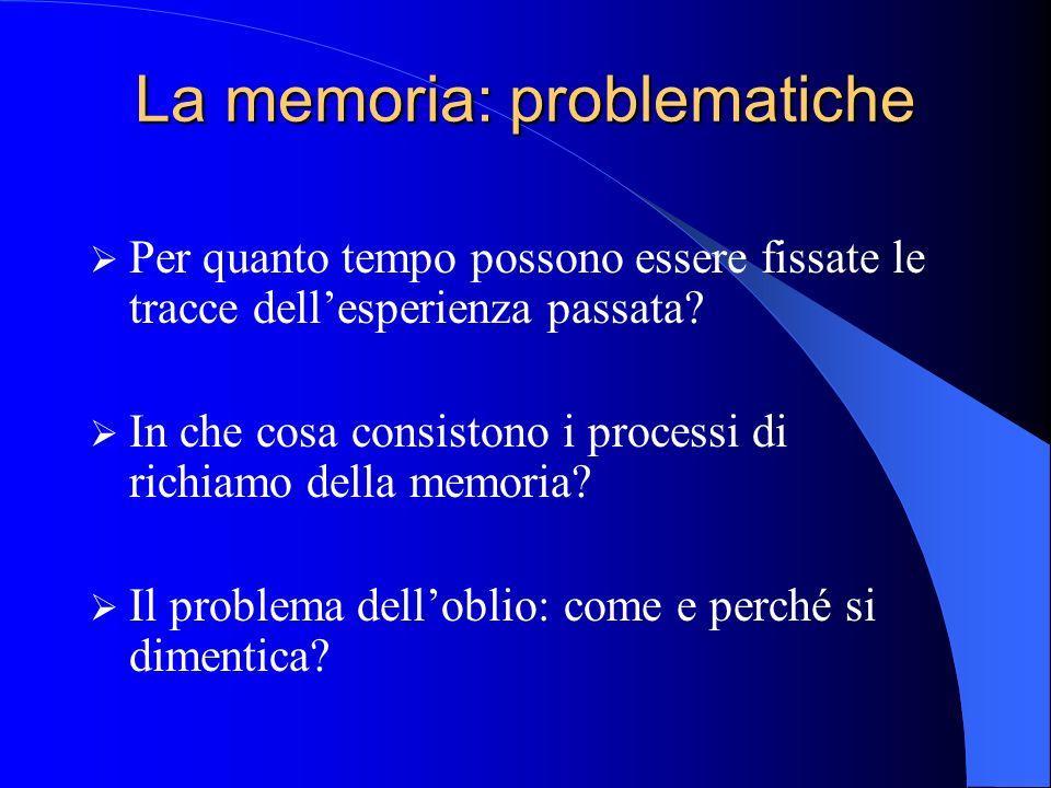La memoria: problematiche Per quanto tempo possono essere fissate le tracce dellesperienza passata.