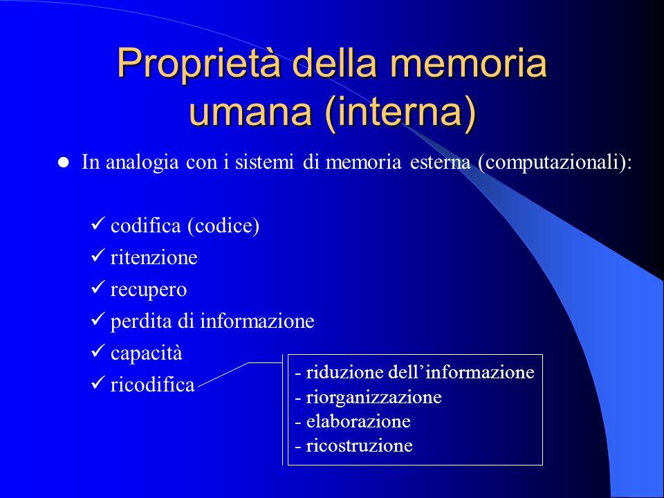 Proprietà della memoria umana (interna) In analogia con i sistemi di memoria esterna (computazionali): codifica (codice) ritenzione recupero perdita di informazione capacità ricodifica - riduzione dellinformazione - riorganizzazione - elaborazione - ricostruzione