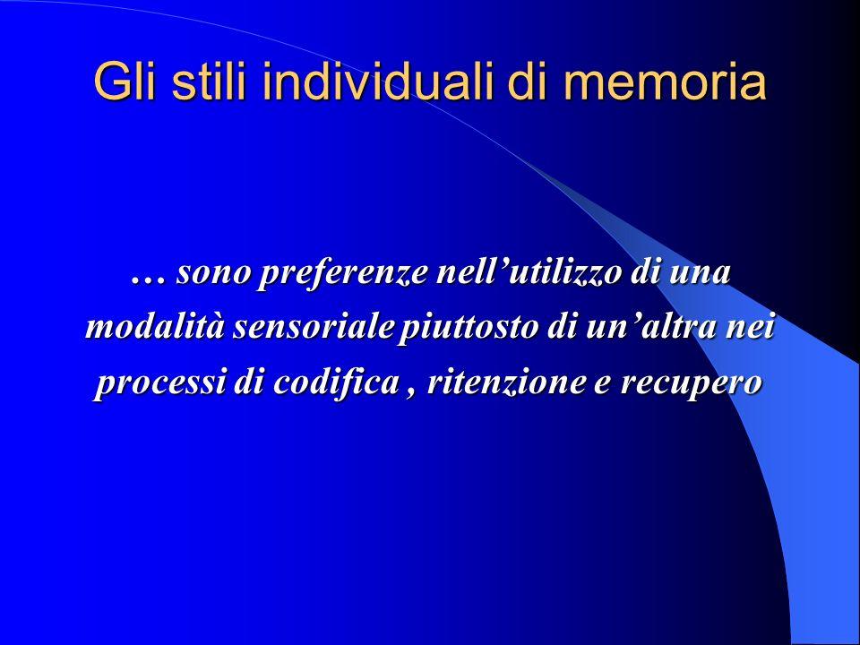 Gli stili individuali di memoria … sono preferenze nellutilizzo di una modalità sensoriale piuttosto di unaltra nei processi di codifica, ritenzione e recupero