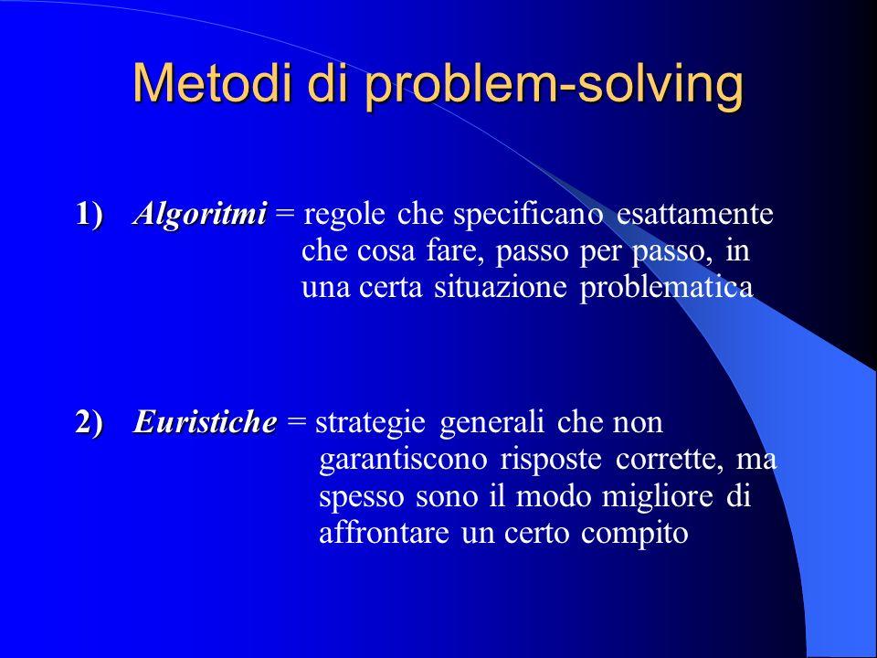 Metodi di problem-solving 1)Algoritmi 1)Algoritmi = regole che specificano esattamente che cosa fare, passo per passo, in una certa situazione problematica 2)Euristiche 2)Euristiche = strategie generali che non garantiscono risposte corrette, ma spesso sono il modo migliore di affrontare un certo compito