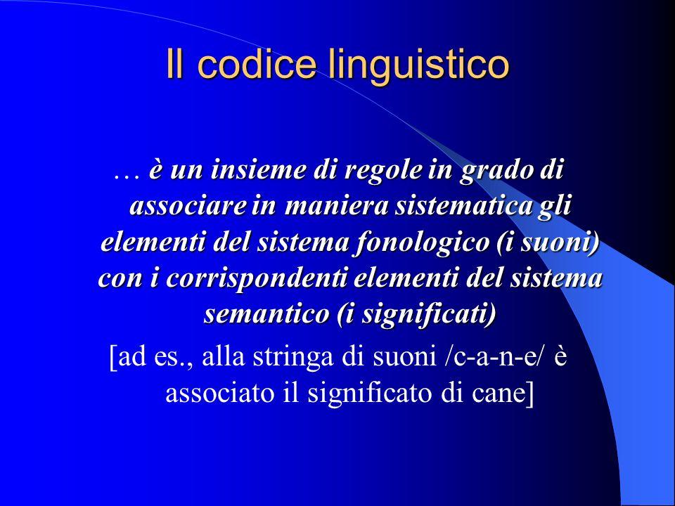 Il codice linguistico è un insieme di regole in grado di associare in maniera sistematica gli elementi del sistema fonologico (i suoni) con i corrispondenti elementi del sistema semantico (i significati) … è un insieme di regole in grado di associare in maniera sistematica gli elementi del sistema fonologico (i suoni) con i corrispondenti elementi del sistema semantico (i significati) [ad es., alla stringa di suoni /c-a-n-e/ è associato il significato di cane]