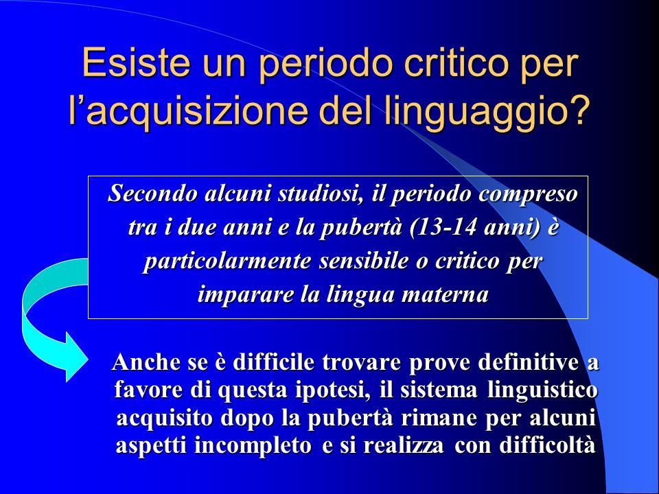 Esiste un periodo critico per lacquisizione del linguaggio.