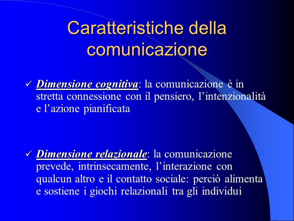 Caratteristiche della comunicazione Dimensione cognitiva Dimensione cognitiva: la comunicazione è in stretta connessione con il pensiero, lintenzionalità e lazione pianificata Dimensione relazionale Dimensione relazionale: la comunicazione prevede, intrinsecamente, linterazione con qualcun altro e il contatto sociale: perciò alimenta e sostiene i giochi relazionali tra gli individui