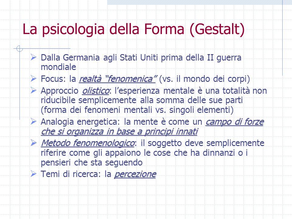 La psicologia della Forma (Gestalt) Dalla Germania agli Stati Uniti prima della II guerra mondiale realtà fenomenica Focus: la realtà fenomenica (vs.