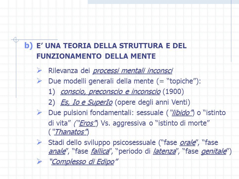 b) E UNA TEORIA DELLA STRUTTURA E DEL FUNZIONAMENTO DELLA MENTE processi mentali inconsci Rilevanza dei processi mentali inconsci Due modelli generali