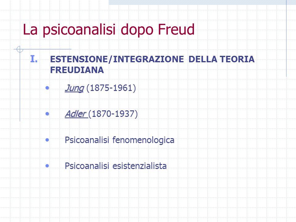La psicoanalisi dopo Freud I. ESTENSIONE/INTEGRAZIONE DELLA TEORIA FREUDIANA Jung Jung (1875-1961) Adler Adler (1870-1937) Psicoanalisi fenomenologica