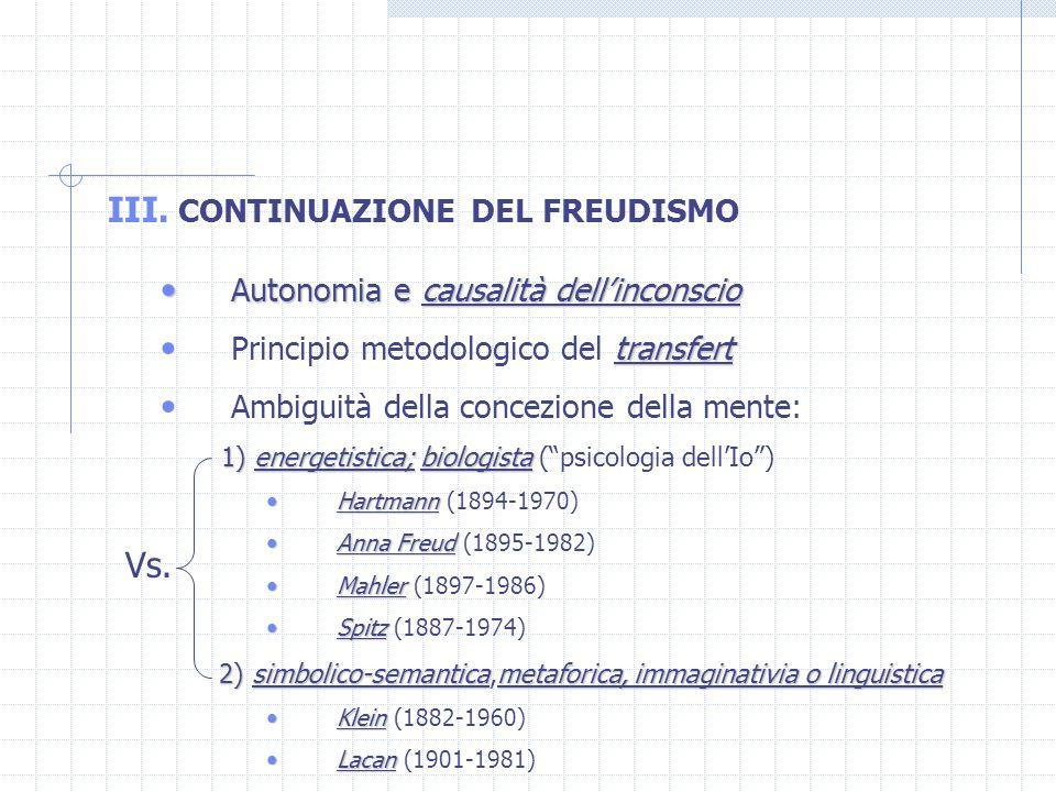 III. CONTINUAZIONE DEL FREUDISMO Autonomia e causalità dellinconscio Autonomia e causalità dellinconscio transfert Principio metodologico del transfer