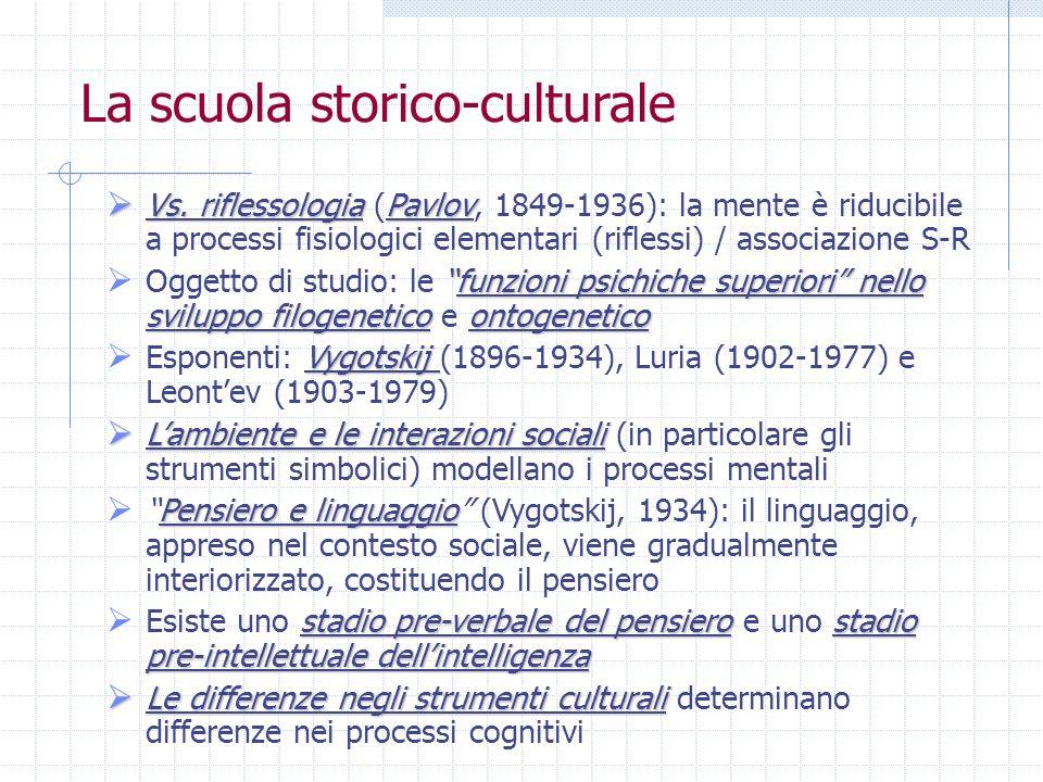 La scuola storico-culturale Vs. riflessologiaPavlov Vs. riflessologia (Pavlov, 1849-1936): la mente è riducibile a processi fisiologici elementari (ri