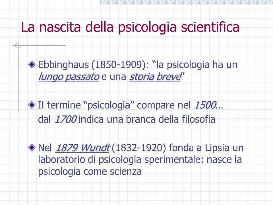 La nascita della psicologia scientifica lungo passatostoria breve Ebbinghaus (1850-1909): la psicologia ha un lungo passato e una storia breve 1500 Il