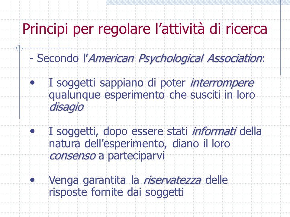 Principi per regolare lattività di ricerca lAmerican Psychological Association - Secondo lAmerican Psychological Association: interrompere disagio I s