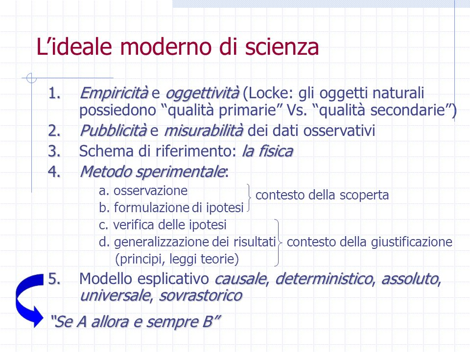 Lideale moderno di scienza 1.Empiricitàoggettività 1.Empiricità e oggettività (Locke: gli oggetti naturali possiedono qualità primarie Vs. qualità sec