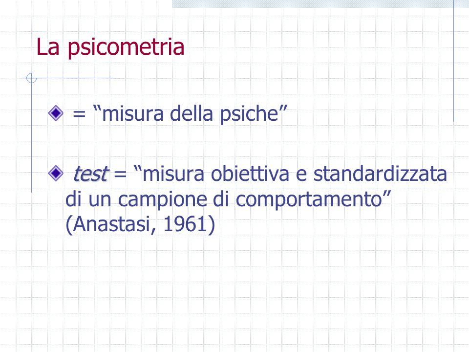 La psicometria = misura della psiche test test = misura obiettiva e standardizzata di un campione di comportamento (Anastasi, 1961)