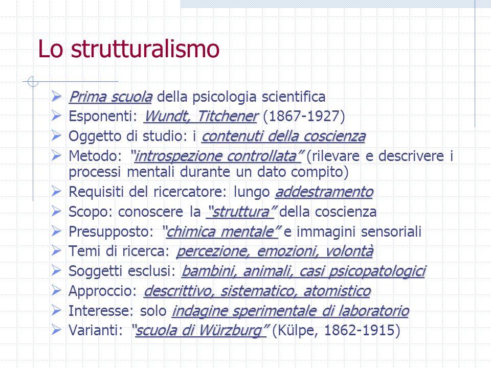 Lo strutturalismo Prima scuola Prima scuola della psicologia scientifica Wundt, Titchener Esponenti: Wundt, Titchener (1867-1927) contenuti della cosc