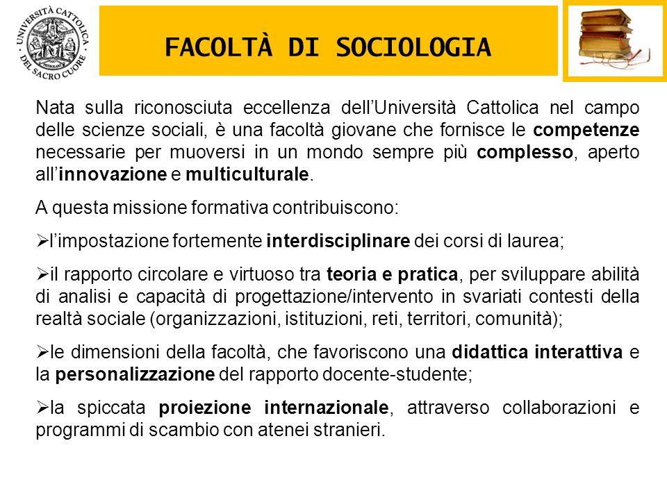 FACOLTÀ DI SOCIOLOGIA Nata sulla riconosciuta eccellenza dellUniversità Cattolica nel campo delle scienze sociali, è una facoltà giovane che fornisce