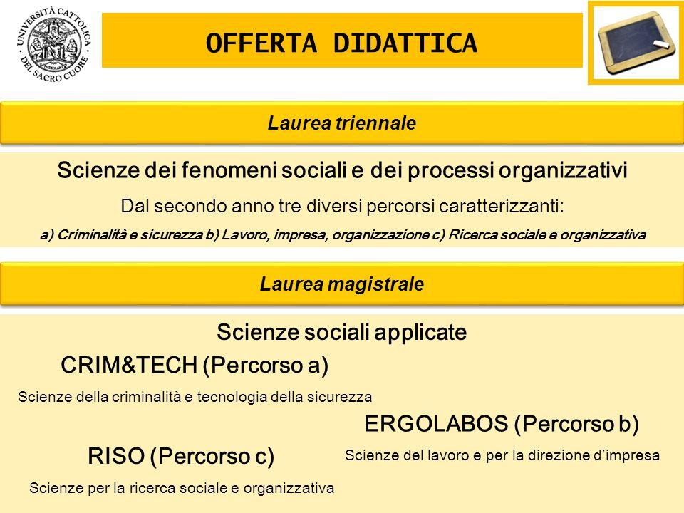 OFFERTA DIDATTICA Scienze dei fenomeni sociali e dei processi organizzativi Dal secondo anno tre diversi percorsi caratterizzanti: a) Criminalità e si