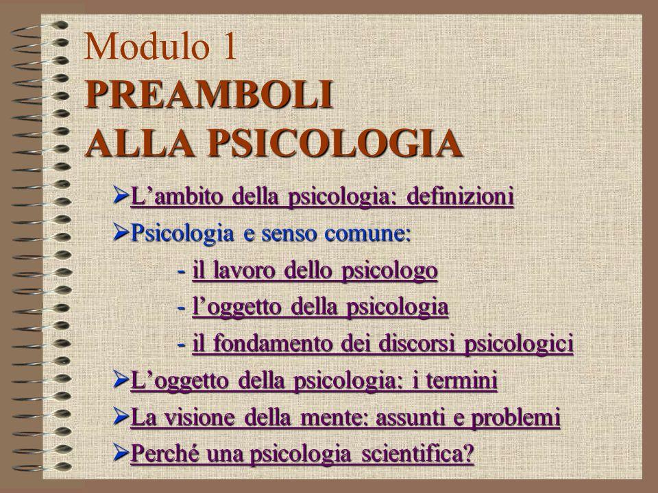 Riepilogo (III) La mente, intesa come interiorità, e il dualismo mente-corpo sono i due principali assunti alla base del modo comune di considerare loggetto della psicologia.