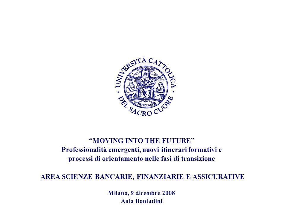 MOVING INTO THE FUTURE Professionalità emergenti, nuovi itinerari formativi e processi di orientamento nelle fasi di transizione AREA SCIENZE BANCARIE, FINANZIARIE E ASSICURATIVE Milano, 9 dicembre 2008 Aula Bontadini