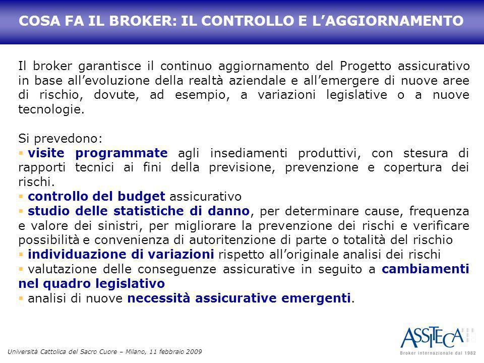 Università Cattolica del Sacro Cuore – Milano, 11 febbraio 2009 Il broker garantisce il continuo aggiornamento del Progetto assicurativo in base allev
