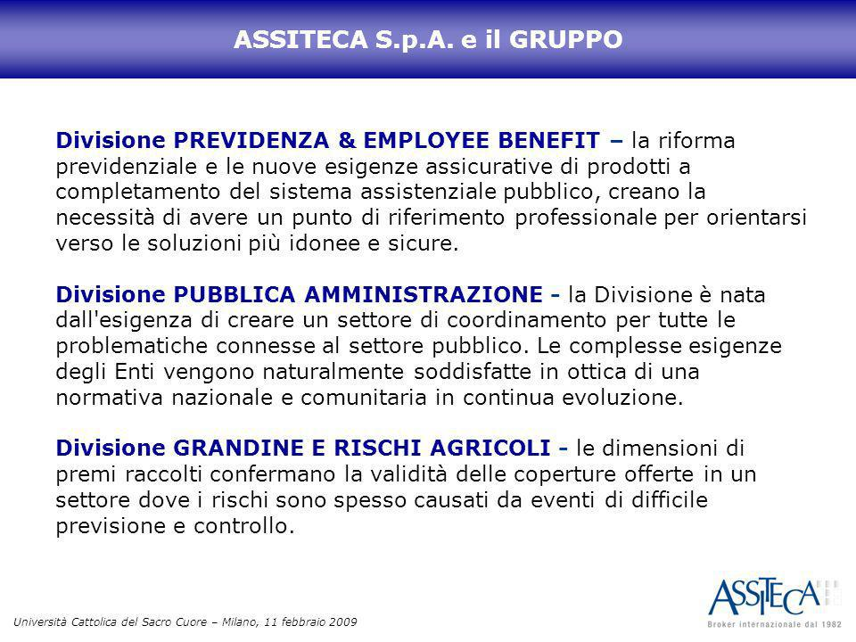 Università Cattolica del Sacro Cuore – Milano, 11 febbraio 2009 ASSITECA S.p.A. e il GRUPPO Divisione PREVIDENZA & EMPLOYEE BENEFIT – la riforma previ