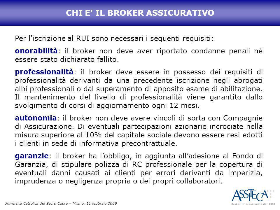 Università Cattolica del Sacro Cuore – Milano, 11 febbraio 2009 Per l'iscrizione al RUI sono necessari i seguenti requisiti: onorabilità: il broker no