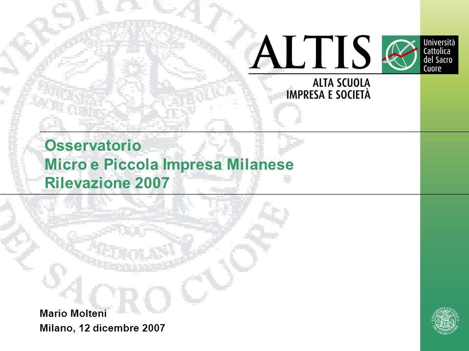 Mario.Molteni@unicatt.it1 Osservatorio Micro e Piccola Impresa Milanese Rilevazione 2007 Mario Molteni Milano, 12 dicembre 2007