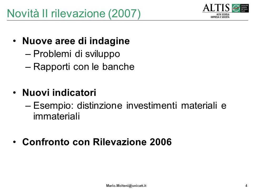 Mario.Molteni@unicatt.it4 Novità II rilevazione (2007) Nuove aree di indagine –Problemi di sviluppo –Rapporti con le banche Nuovi indicatori –Esempio: distinzione investimenti materiali e immateriali Confronto con Rilevazione 2006