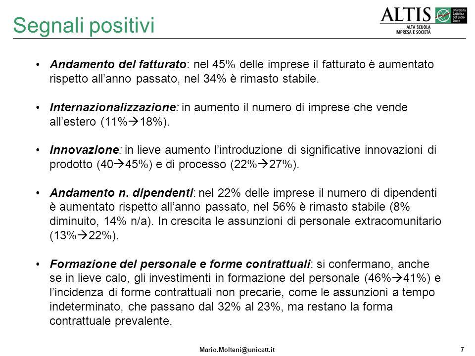 Mario.Molteni@unicatt.it7 Segnali positivi Andamento del fatturato: nel 45% delle imprese il fatturato è aumentato rispetto allanno passato, nel 34% è rimasto stabile.
