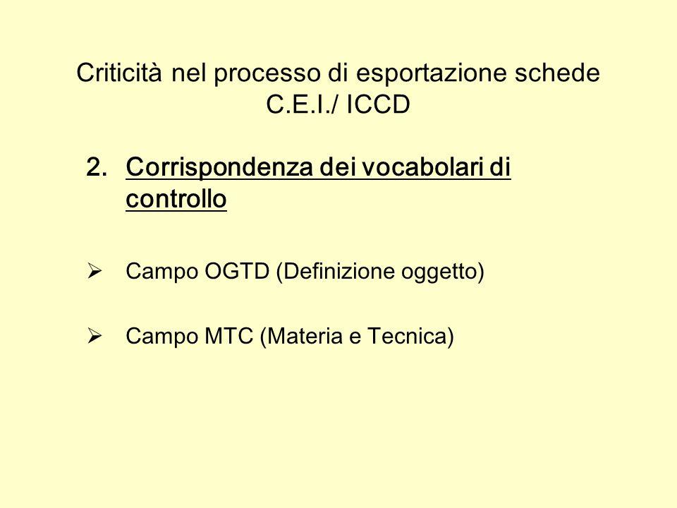 Criticità nel processo di esportazione schede C.E.I./ ICCD 2.Corrispondenza dei vocabolari di controllo Campo OGTD (Definizione oggetto) Campo MTC (Materia e Tecnica)